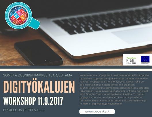 11.9.2017 klo 12-15 Digityökalujen workshop opettajille ja opoille